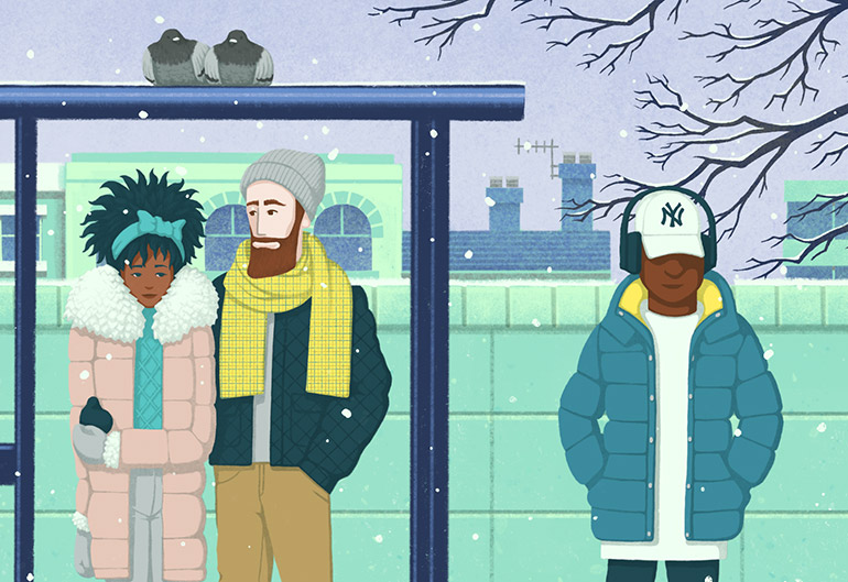 Bus Stop (Winter) detail